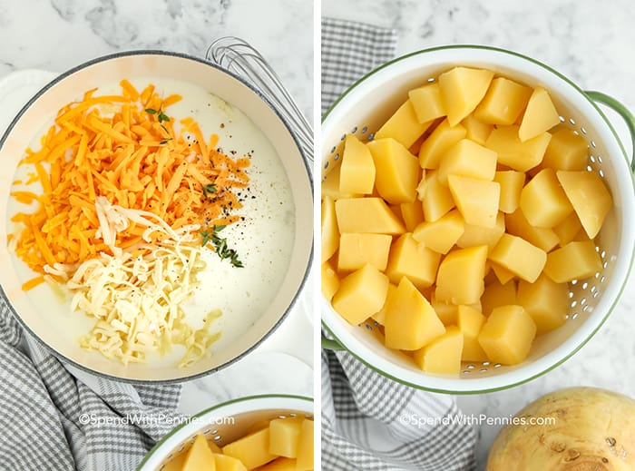 Two images showing cheese sauce ingredients in a pot and rutabaga cubed in a strainer.