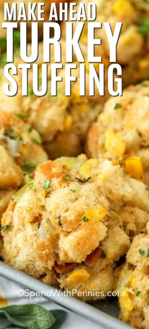 Turkey stuffing on a baking sheet with writing