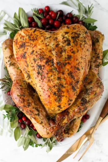overhead of herb roast turkey on a platter