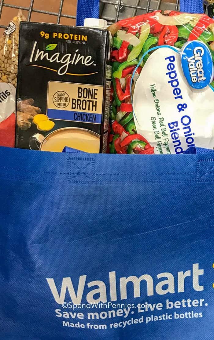Blue walmart bag full of Lentil Soup ingredients