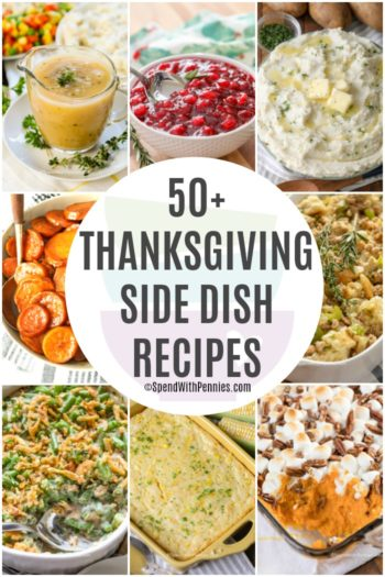 Thanksgiving Side Dish Collage with a title