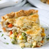 Turkey Pot Pie on a plate with parsley