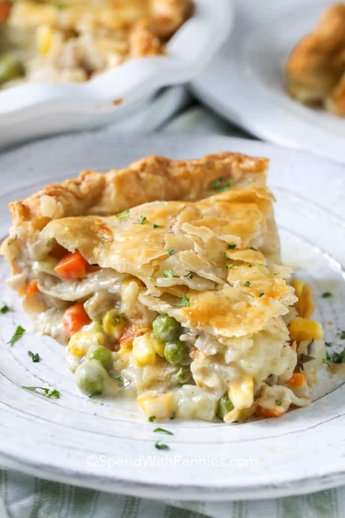 Close up of a slice of turkey pot pie with the pie plate in the background.