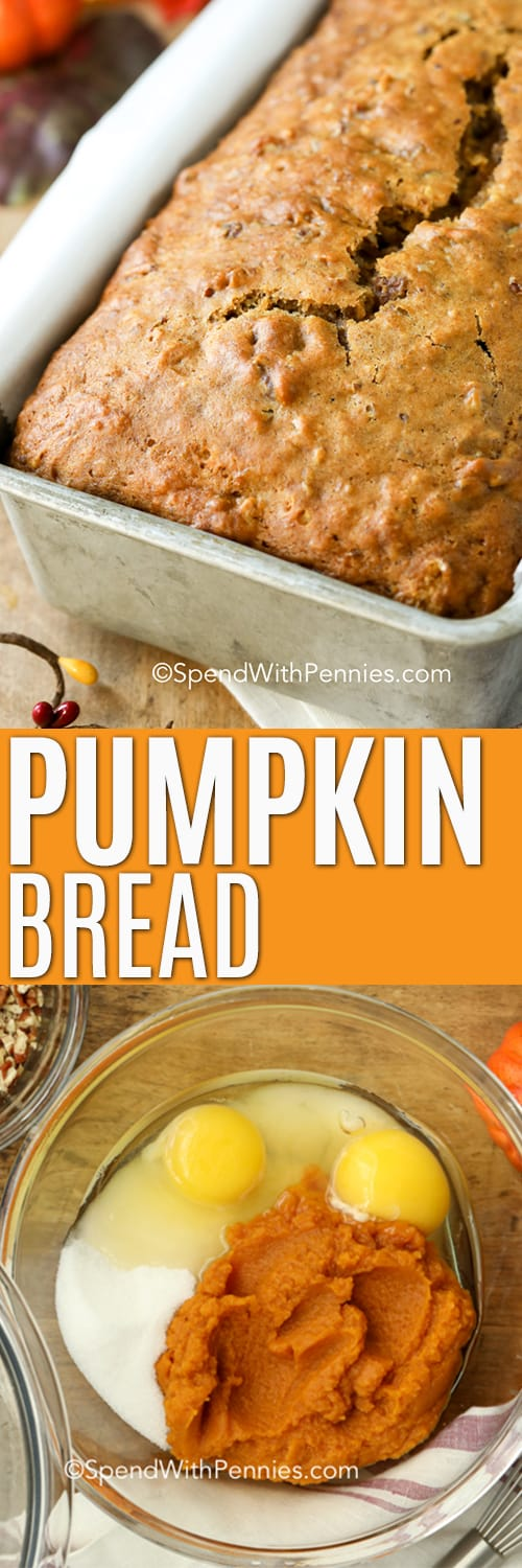 Ingredients for pumpkin bread in a glass bowl and pumpkin bread in a pan with writing