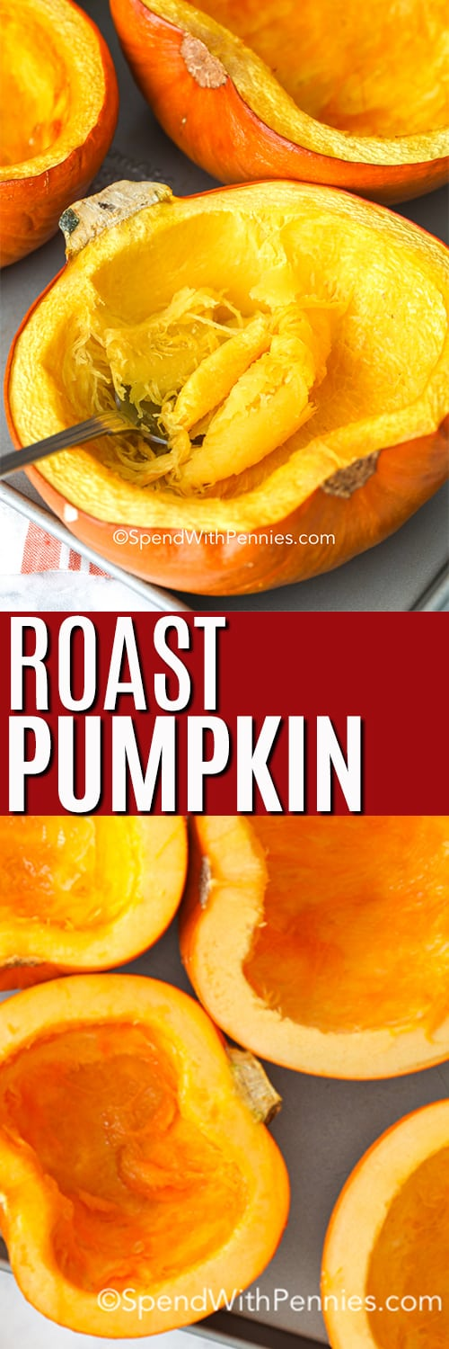 Raw pumpkin on a baking sheet and roasted pumpkin with a fork and a title