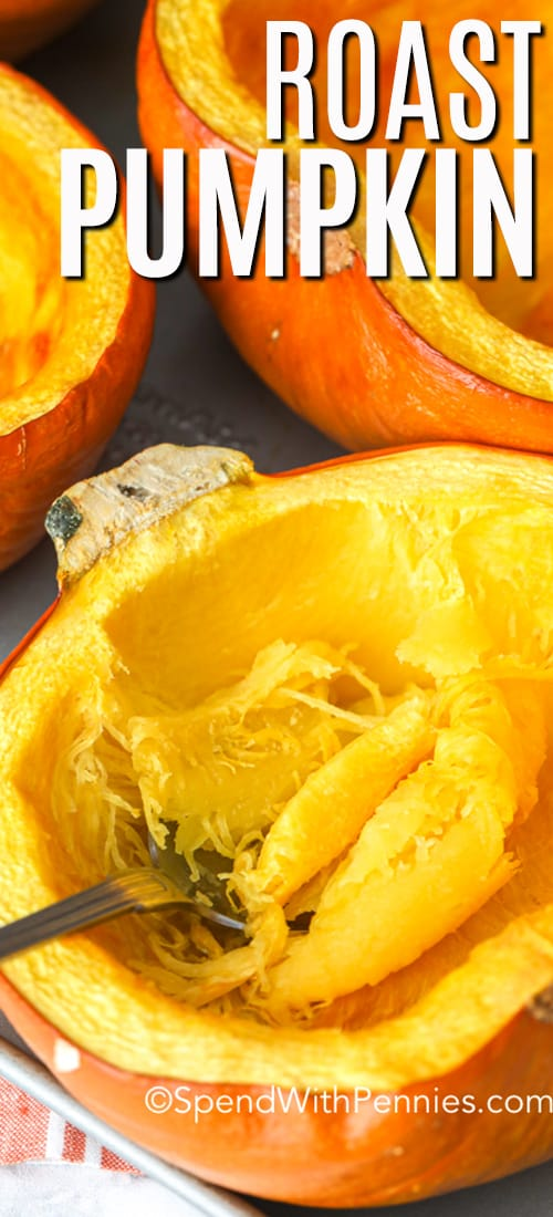 Roasted pumpkin with a fork and a title