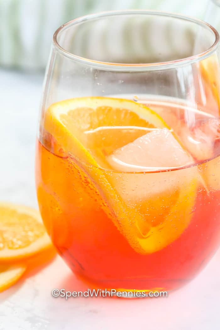 Aperol Spritz in a glass with ice