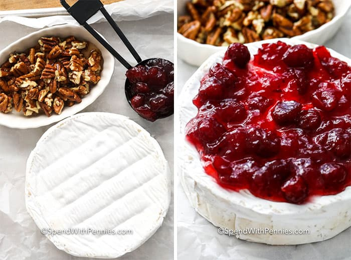 Ingredients for baked brie and Brie topped with cranberries with pecans on the side