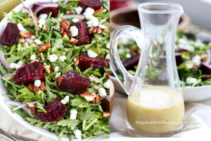 A bowl of roasted beet salad with goat cheese and a side of homemade beet salad dressing