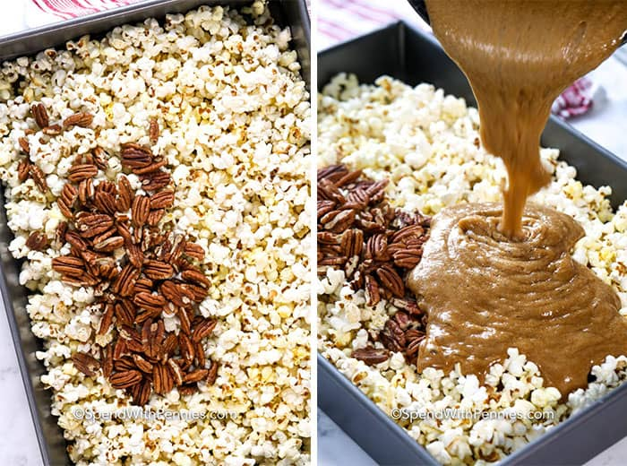 Left image - popcorn with pecans being mixed in. Right image - homemade caramel sauce being poured on top.