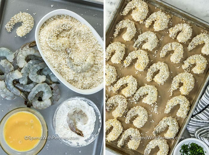 Left image shows raw shrimp being dipped into cornstarch mixture. Right image shows battered shrimp lined on a baking sheet.