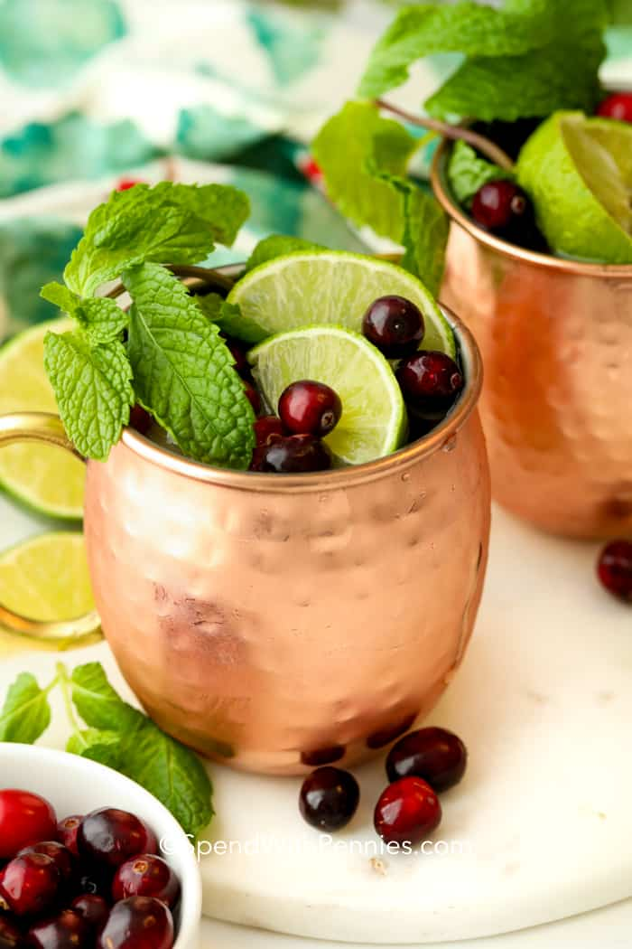 Two Cranberry Moscow mules in copper mugs topped with min sprigs, lime slices, and cranberries!