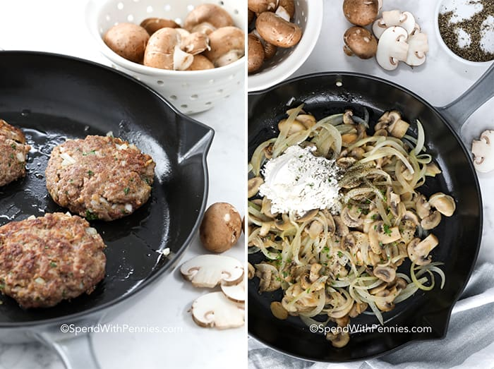 Left image shows hamburger patties cooking in a cast iron pan and right image shows onions mushrooms and sour cream being cooked in a cast iron pan