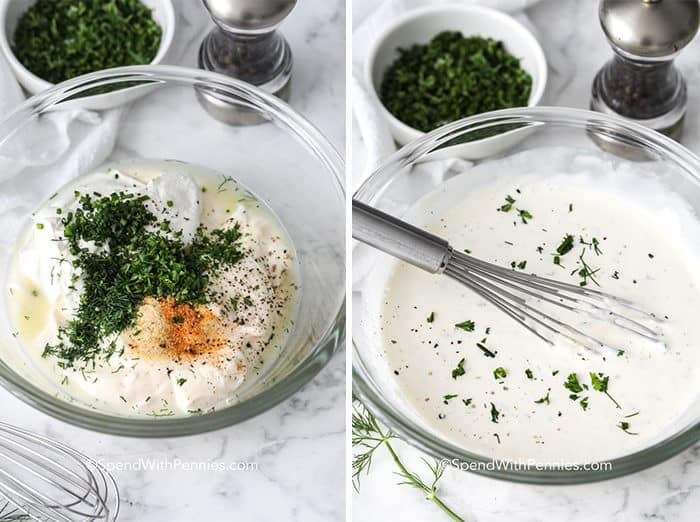left image shows Ingredients for homemade ranch dressing in a glass bowl and right image shows homemade ranch dressing in a glass bowl with a whisk