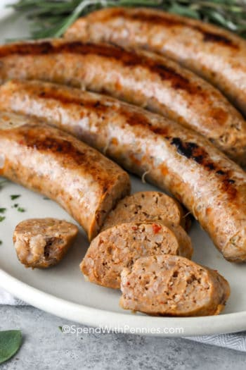 Italian sausage slices on a plate