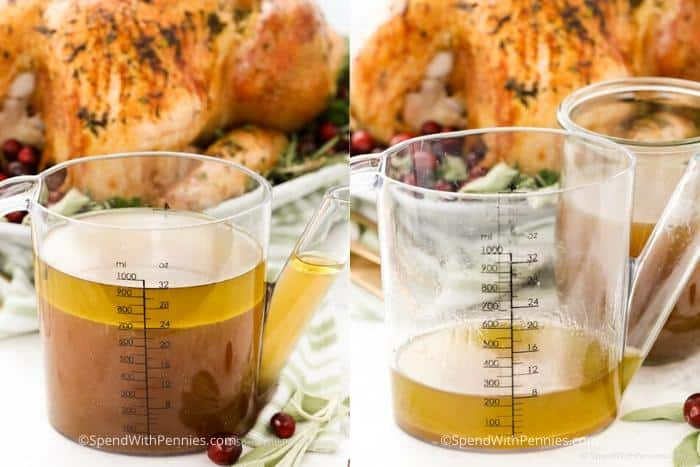 Left image is Gravy in a fat separator and right image is fat in a fat separator