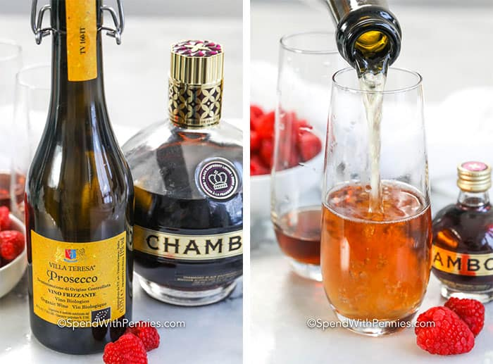 Left image- Kir Royale ingredients. Right Image - Ingredients being poured into chilled champagne flutes.