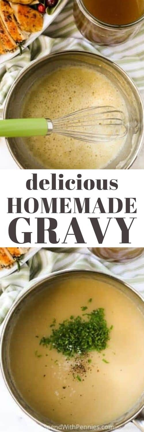 Gravy in a pot and gravy ingredients in a pot with a whisk and writing