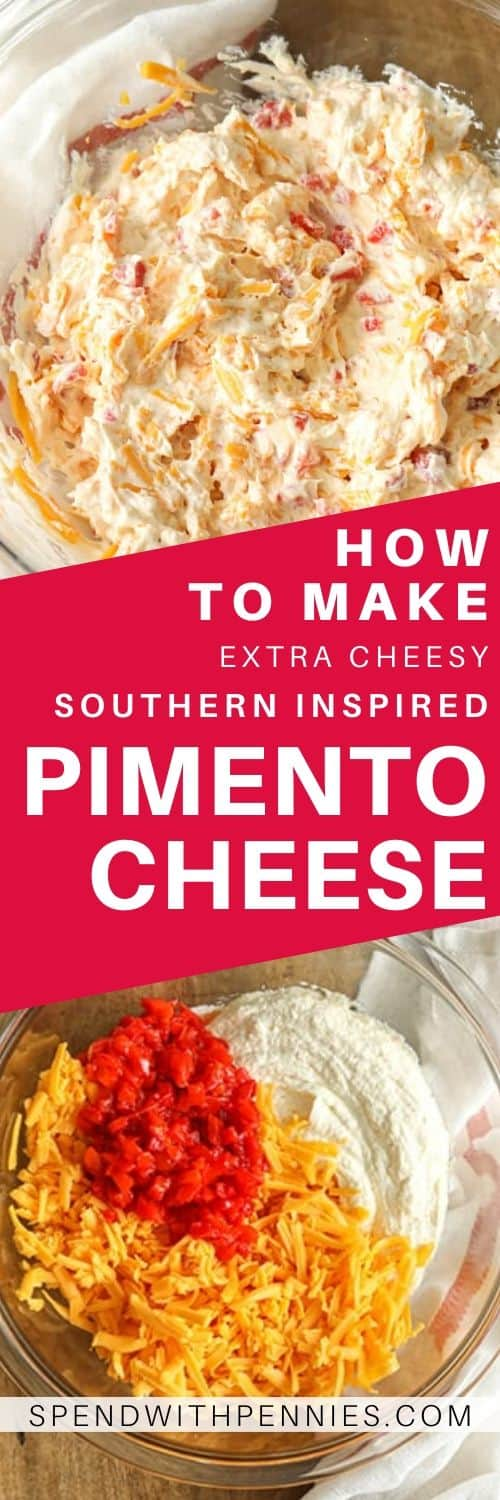Top photo - Pimento cheese mixed in a glass bowl. Bottom photo - Pimento Cheese ingredients being mixed in a clear bowl.