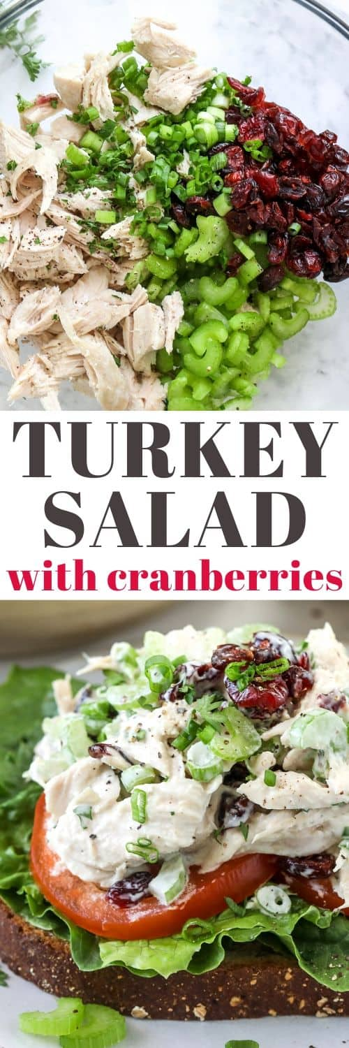 Turkey Salad in a sandwich and ingredients for Turkey Salad in a glass bowl with writing