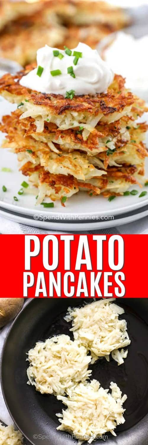 Potato pancakes being cooked in a pan and cook potato pancakes in a pile on a plate with a title