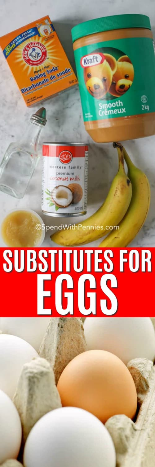 Substitutes for eggs on a marble board with a title