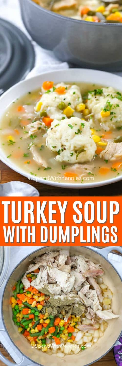 Top photo - Turkey soup with dumplings served in a white bowl. Bottom photo - ingredients to make turkey soup in the bottom of a pot.