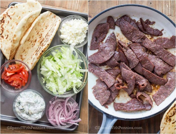 Lamb gyro ingredients on a baking sheet and lamb being cooked in a pan