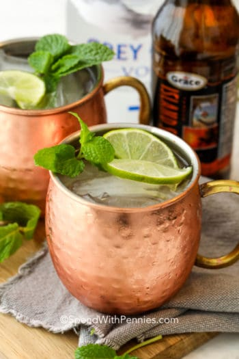Moscow Mule in a cup with ice lime and mint