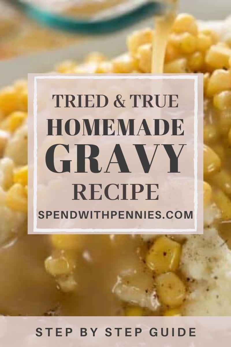 Gravy with corn and potatoes and a title