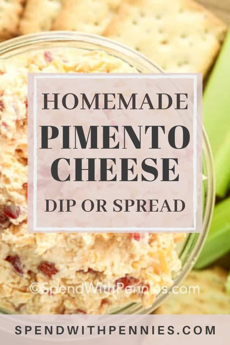 Pimento Cheese in a glass bowl with writing