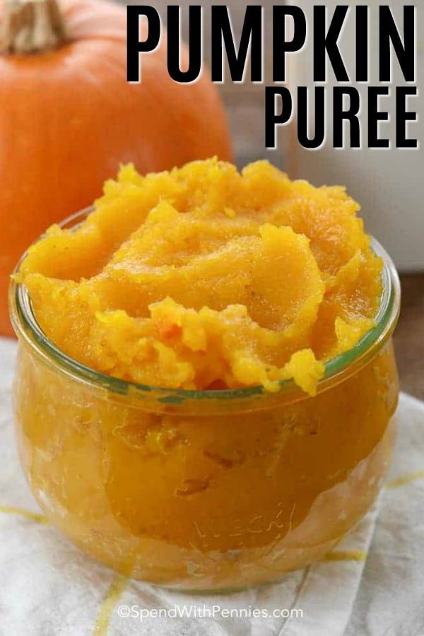 A jar full of homemade pumpkin puree.