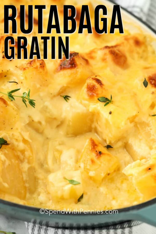 Rutabaga gratin in a dish with a title