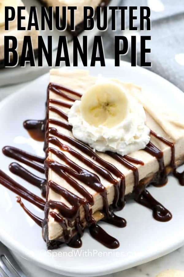 A slice of peanut butter banana refrigerator pie served on a white plate.