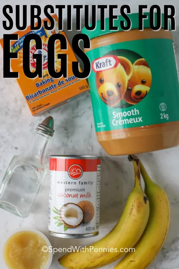 Substitutes for eggs on a marble board with writing