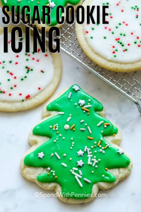 Sugar cookie icing on sugar cookies with a title