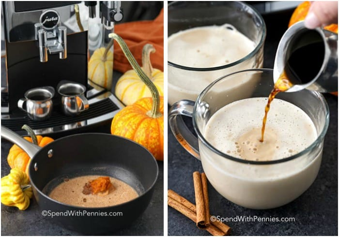 Left image is ingredients for pumpkin spice latte in a pot and right image shows pumpkin spice latte in a clear mug with coffee being poured in