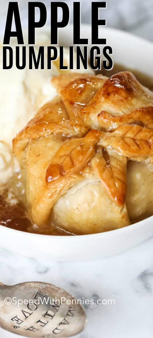 Apple Dumpling in a bowl with ice cream and a title
