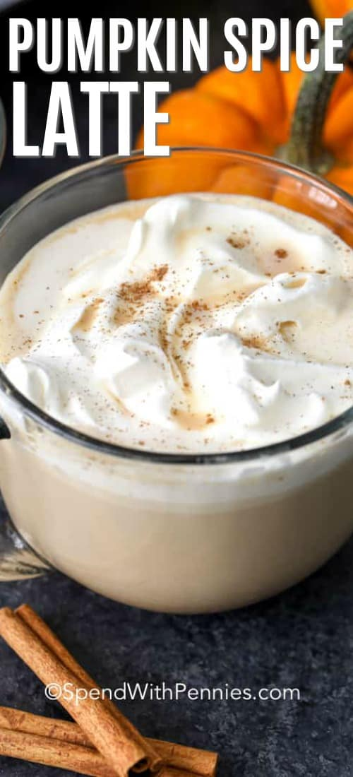 Close up of Pumpkin Spice Latte with whipped cream and cinnamon on top.