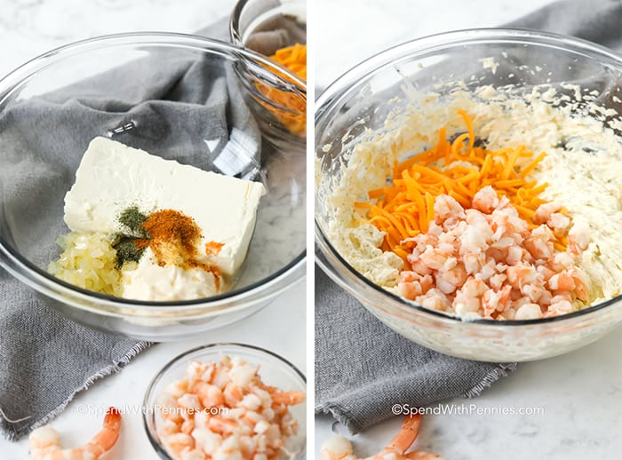 Left image is ingredients for shrimp dip in a glass bowl and right image is shrimp dip with shrimp and shredded cheddar in a bowl