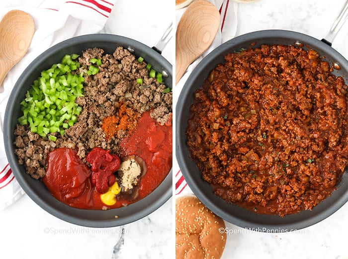 Left image is ingredients for sloppy joes in a frying pan Right image is ingredients for sloppy joes in a frying pan mixed together