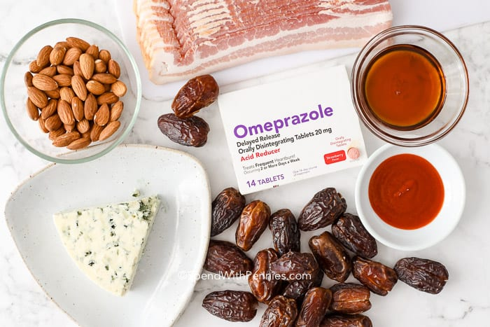 Ingredients for bacon wrapped dates and Omeprazole