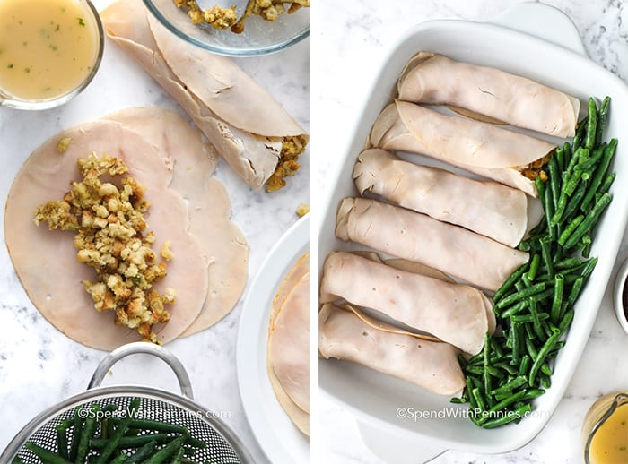 Left image is turkey breast with stuffing and right image is turkey Roll-Ups in a casserole dish with green beans