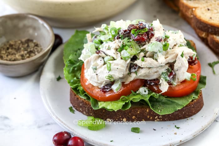Turkey salad on a sandwich with tomato and lettuce on a plate