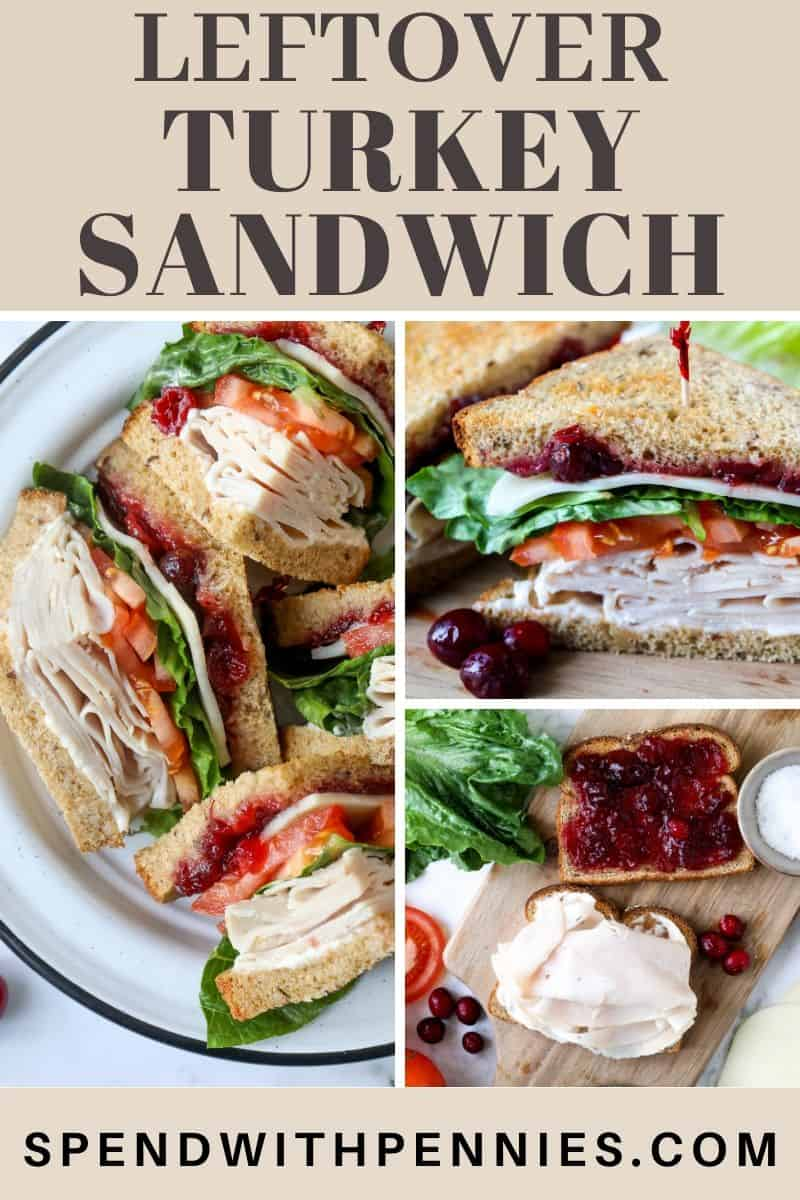 Turkey sandwich on a board and plate with writing