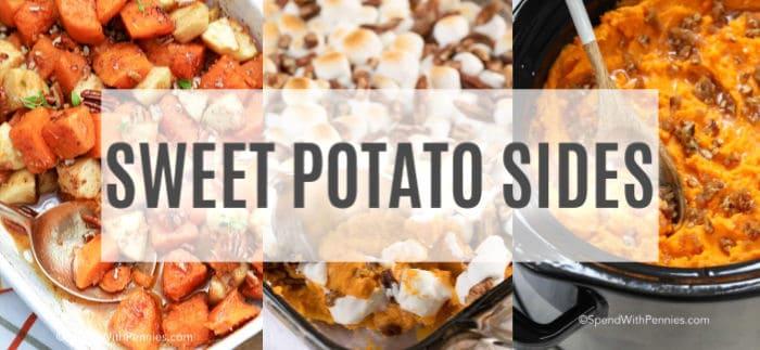 3 photos of sweet potato side dish recipes