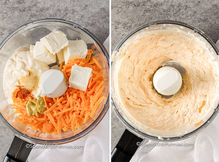 Ingredients for five minute cheese dip in a food processor 5 minute cheese dip in a food processor mixed