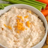 5 minute cheese dip in a bowl with veggies and crackers