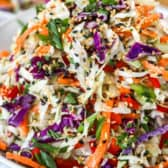 5 minute Asian slaw in a white bowl garnished with green onions