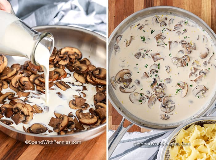 First image shows cream being poured into mushrooms in a frying pan and second image shows mushroom and cream mixture in a frying pan